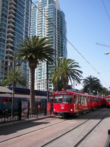 San Diego Trolley at the downtown station