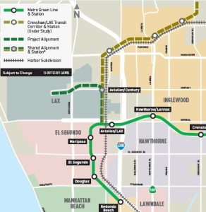 Map of Green and Crenshaw Lines at LAX next to old Santa Fe Harbor Line