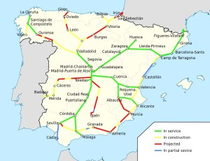 Current and planned High  Speed Rail Lies in Spain.  Graphic from Wikimedia Commons by HrAd