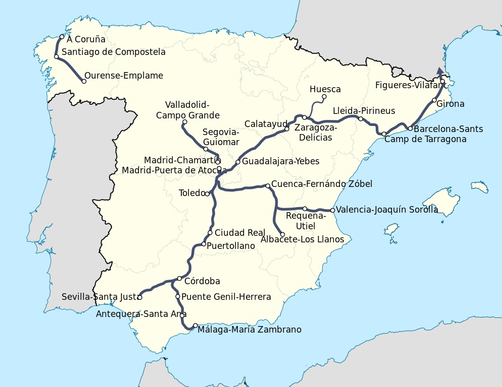 Trains In Spain Map.Lessons For California From Spain About Trains Railpac
