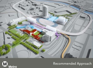 A drawing of current planning for new tracks and possible new building around Los Angles Union Station