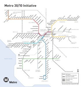 This shows current and future rail and rapid bus lines in LA. Lots of lines but limited connections