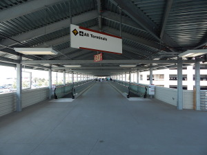 Inside the walkway to the Bob Hope Airport terminals