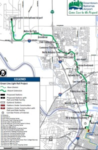 Route map of proposed extension of Sacramento Green Line to the airport